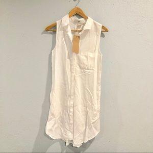 Thread + Supply | White Button Down Sleeveless Top